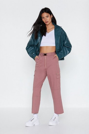Womens Rose pink Buckle In High-Waisted Utility Trousers
