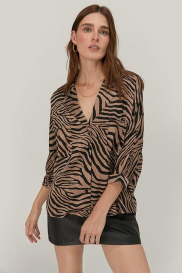 Womens Mocha Don't Tail a Soul Satin Tiger Shirt