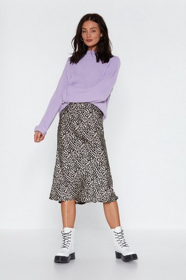 Womens Nude Run Wild Midi Leopard Skirt