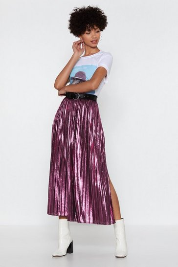 Womens Pink The Pleat is On Metallic Skirt