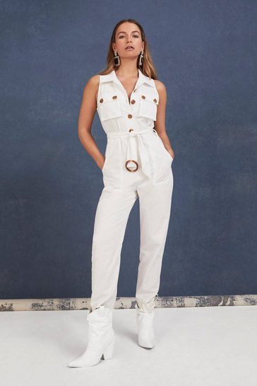 Womens White One Piece is All It Takes Belted Buttoned Jumpsuit