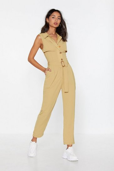 Womens Sand Really Belt It Jumpsuit