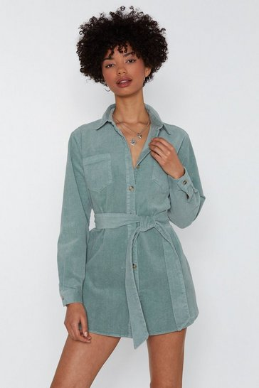 Womens Sage No Time to Waist Corduroy Shirt Dress