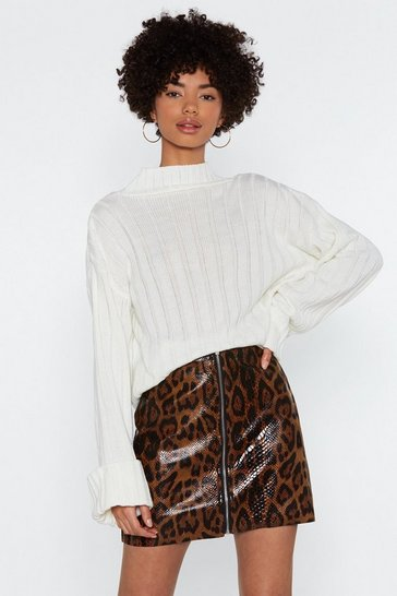 Womens Brown Road Zip Leopard Mini Skirt