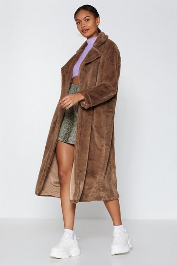Mink Go Long Faux Fur Coat