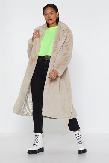 Womens Cream It's Fur the Best Faux Fur Longline Coat