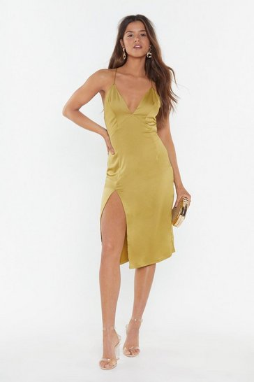 Womens Chartreuse Leg Up on the Competition Satin Midi Dress
