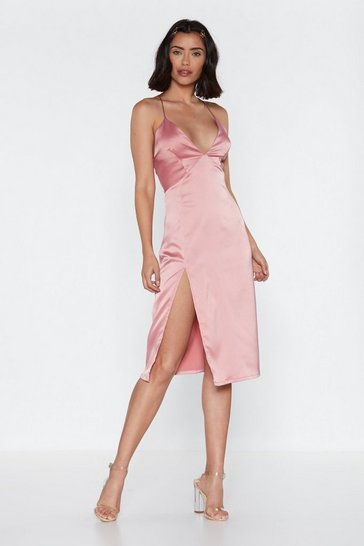 Womens Rose Leg Up on the Competition Satin Midi Dress