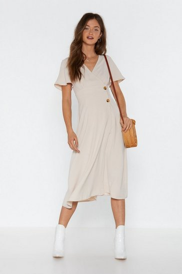 Womens Ecru Make It a  Double Midi Dress