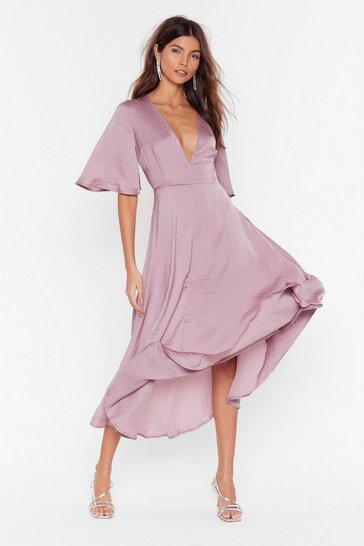 Womens Mauve Give It a Whirl Plunging Dress