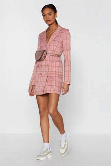 Womens Pink Plaid Times Blazer Dress