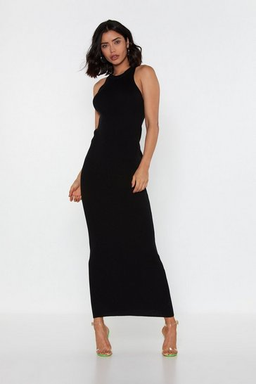 Womens Black Chin Up Ribbed Maxi Dress