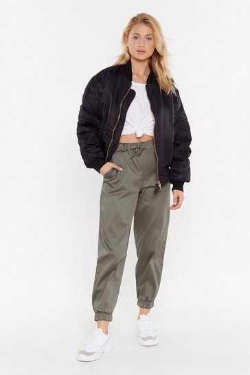 Womens Khaki On the Car-go Relaxed Trousers