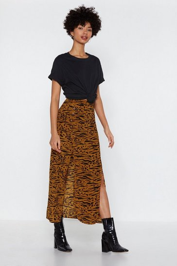 Brown Can't We Just Slit Down Animal Midi Skirt