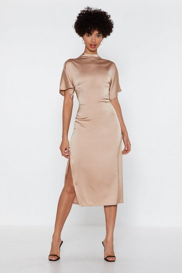 Womens Champagne Satin Your Own Time Midi Dress