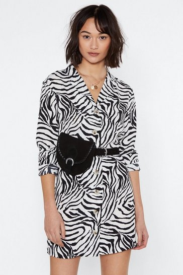 Womens Ivory Do You Foal Zebra Shirt Dress