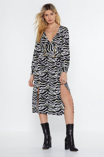 Black Keep It Moving Zebra Midi Dress
