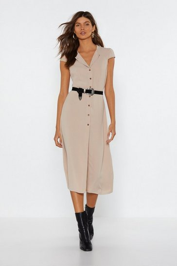 Womens Sand Button Down Midi Dress