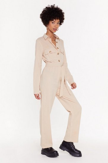 Womens Wheat Button Front Linen Jumpsuit