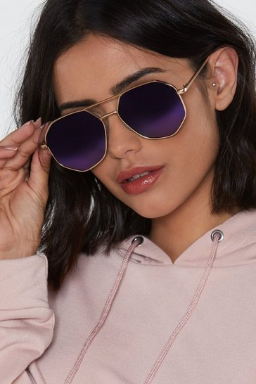 Womens Gold Hex on You Aviator Sunglasses