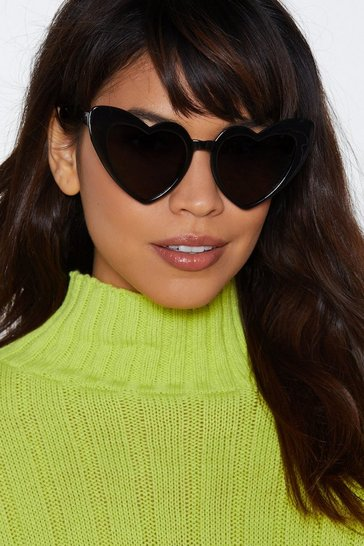 Black Heart to Heart Oversized Sunglasses
