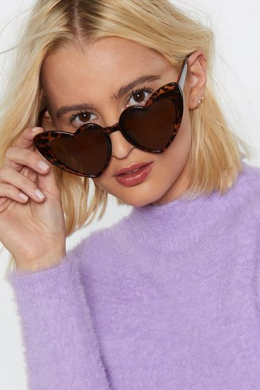 Womens Brown Heart Eyes You Sunglasses