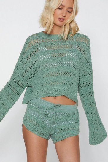 Womens Sage It's Crochet Hun Jumper and Shorts Set