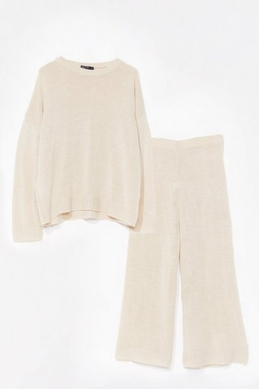 Womens Oatmeal You've Met Your Match Knitted Sweater and Pants
