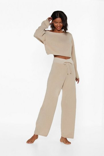 Womens Oatmeal Slow Down Sweater and Joggers Lounge Set