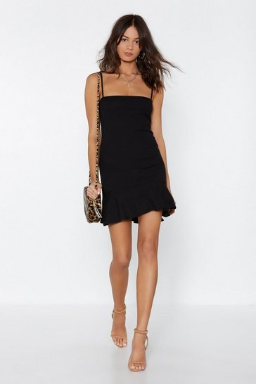 Black Square Neck Ruffle Mini Dress