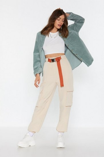 Womens Beige On the Cargo Buckle Cargo Trousers