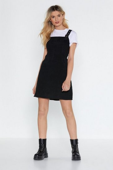 Womens Black All On Cord Pinafore Dress