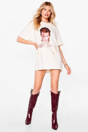 Natural David Bowie Graphic T-Shirt Dress