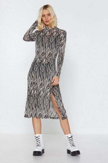 Womens Natural Herd You Calling Zebra Midi Dress