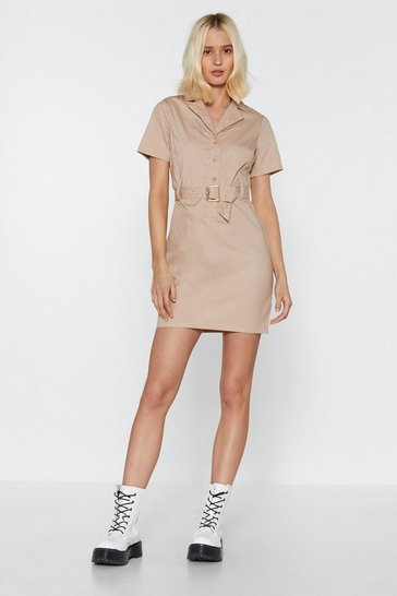Womens Stone Buckle You Mean Belted Mini Dress