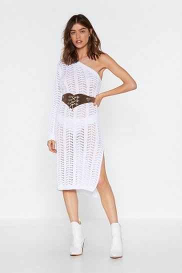 White Weave Your Way in Knitted One Shoulder Dress