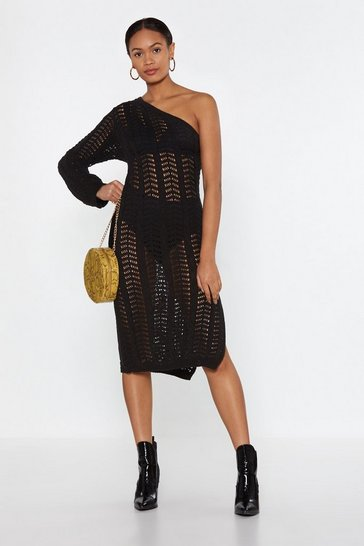 Womens Black Hole in One Shoulder Crochet Dress