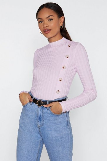 Womens Lilac It's Knit a Problem Button-Down Ribbed Jumper