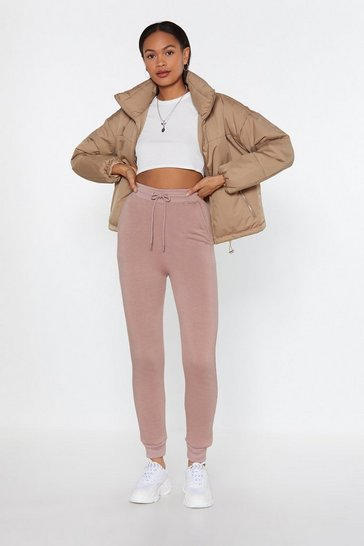 Womens Dusky pink On the Run High-Waisted Joggers
