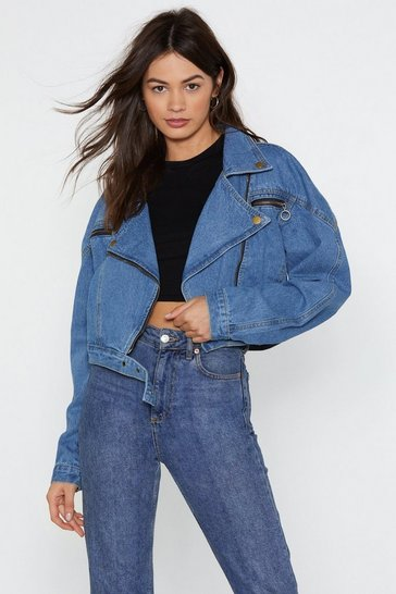 Blue Nice Ride Denim Moto Jacket