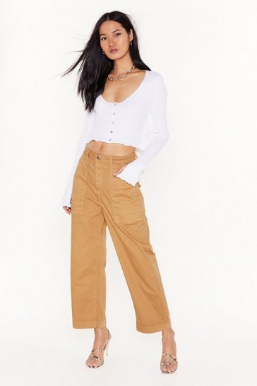 Womens Stone Crop to It Utility High-Waisted Jeans