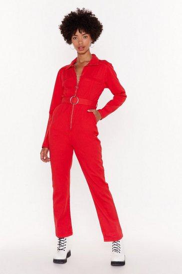 Red Zip It Through Denim Boilersuit