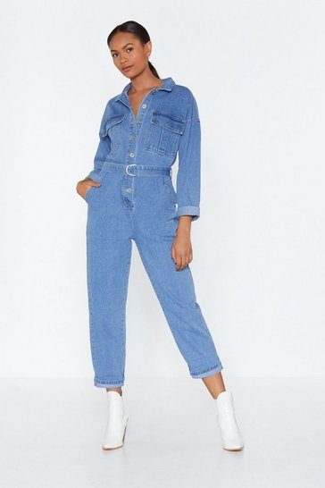 Womens Mid blue All in Relaxed Denim Boilersuit