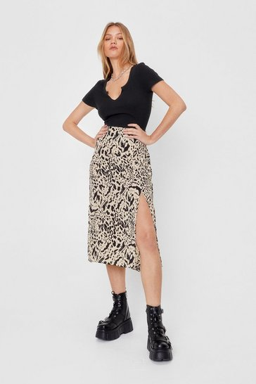 Beige Animal Print Slit Midi Skirt