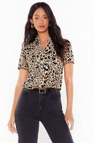 Beige Get It While It's Spot Animal Button-Down Shirt