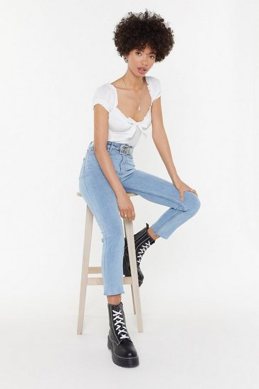 Womens Light blue Light Denim Mom Jean