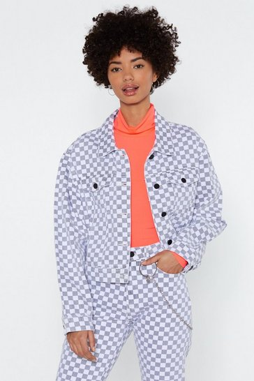 Womens Grey Worth Your Tile Checkerboard Jacket