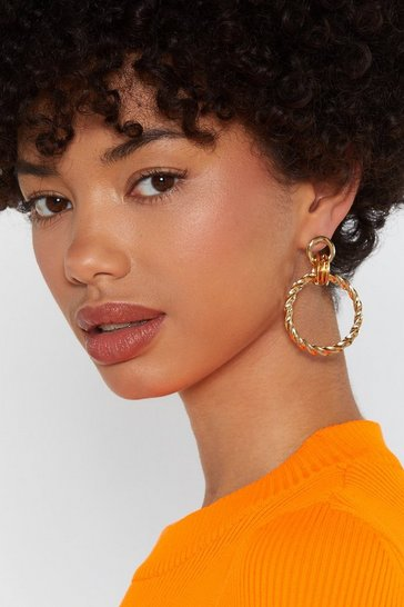 Womens Gold Knot Finished With You Hoop Earrings