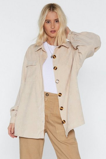 Ecru Oversized Corduroy Shirt with Button-Down Closure