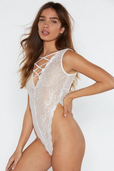 Womens White High-Leg on Love Lace Bodysuit